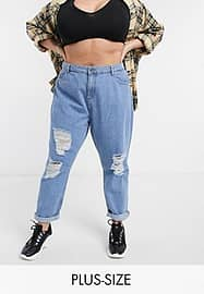 Destroyed mom jeans in mid blue wash-Blauw