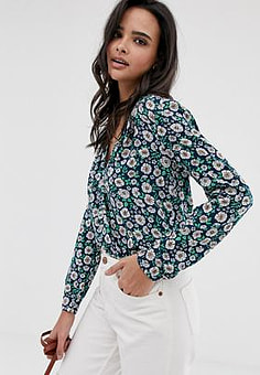 Esprit Blouse met madeliefjesprint in marineblauw-Multi
