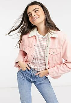 ex-boyfriend - Sherpa - Denim truckerjack in roze