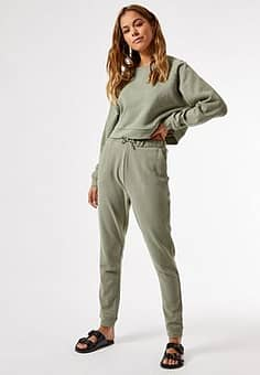 Joggingbroek combi-set in kaki-Groen