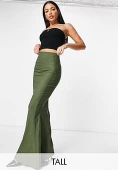Maxi-rok met fishtail in kaki-Groen