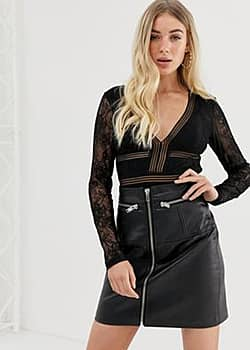 Missguided Kanten bodysuit in zwart-Wit