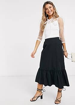 New Look Gelaagde poplin midirok in zwart