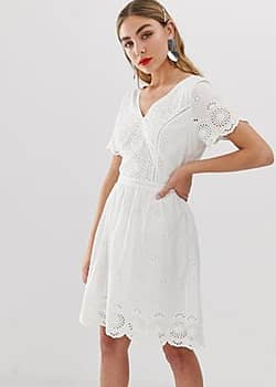 Only Mini-jurk in broderie anglais-Crème
