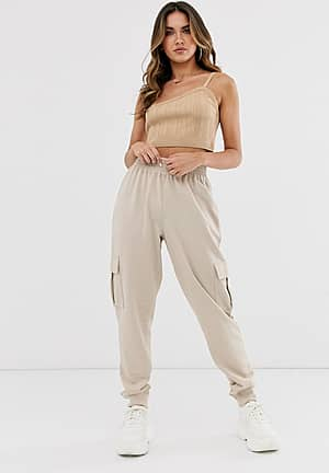 Utility joggingbroek met zak in nude