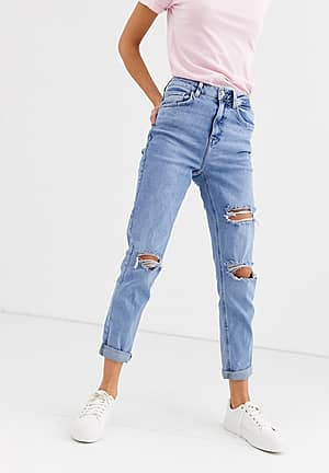 Mom jeans met scheuren in middenblauw